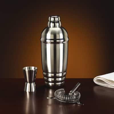 Tuscany Classics Metal Shaker with Stirrer and Jigger Set