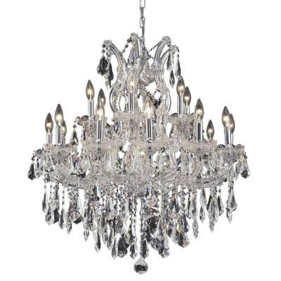 Timeless Home 30 in. L x 30 in. W x 28 in. H 19-Light Chrome Transitional Chandelier with Clear Crystal