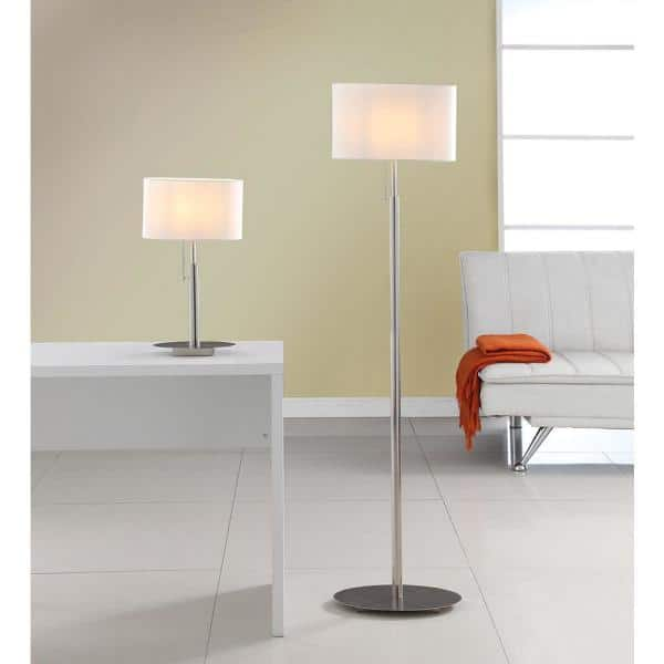Artiva Audrey Slim Oval Design 64 In 21 In 25 In Nickel Steel Table And Floor Lamp Set A4031017mxw The Home Depot