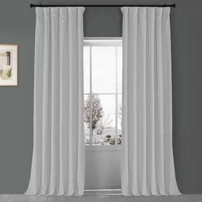 Porcelain White Velvet Rod Pocket Blackout Curtain - 50 in. W x 96 in. L (1 Panel)
