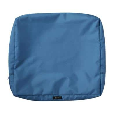 Ravenna 23 in. W x 20 in. H x 4 in. D Patio Back Cushion Slip Cover in Empire Blue