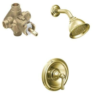 Kingsley Single-Handle 1-Spray Posi-Temp Shower Faucet in Polished Brass (Valve Included)