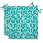 Cubed Teal Square Outdoor Seat Cushion (2-Pack)