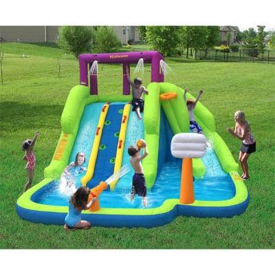Kahuna Triple Blast Outdoor Inflatable Splash Pool Backyard Water Slide