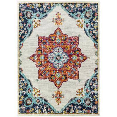 Aurora Multicolored 6 ft. x 9 ft. Medallion Area Rug
