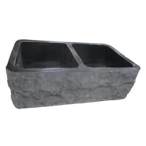 Bowdon Farmhouse Apron Front Granite Composite 36 in. 50/50 Double Bowl Kitchen Sink in Polished Black