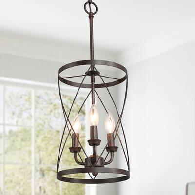 Onawa Drum Chandelier 3-Light Rust Bronze Farmhouse Pendant Light Cylindrical Cage Foyer Ceiling Pendant Light