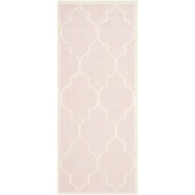 Cambridge Light Pink/Ivory 3 ft. x 6 ft. Border Geometric Trellis Runner Rug