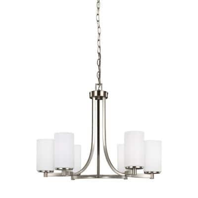 Hettinger 6-Light Brushed Nickel Chandelier with LED Bulbs