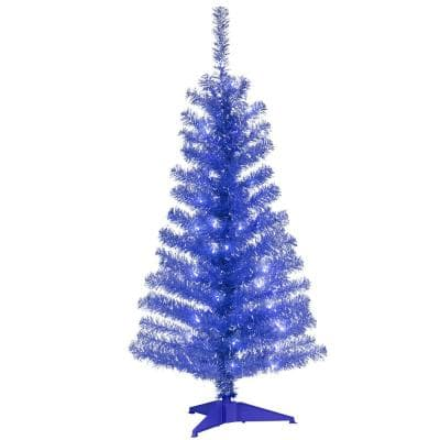 4 ft. Blue Tinsel Artificial Christmas Tree with Clear Lights