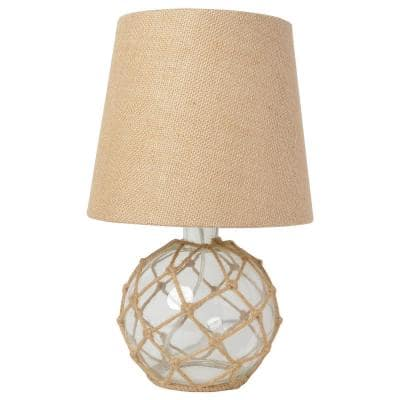 15.25 in. 1-Light Clear Buoy Rope Nautical Netted Coastal Ocean Sea Glass Table Lamp with Burlap Fabric Shade