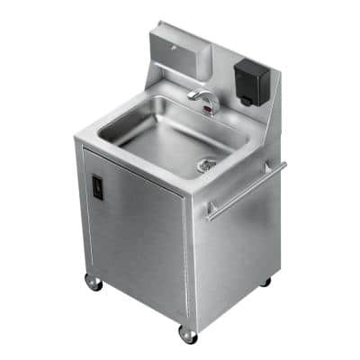 27 in. Freestanding Stainless Steel 1 Compartment Commercial Hand Wash Sink