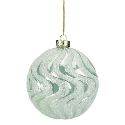 4 in. Green Glittered Swirled Glass Ball Christmas Ornament
