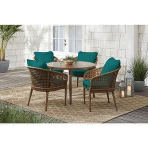 Coral Vista 5-Piece Brown Wicker and Steel Outdoor Patio Dining Set with Sunbrella Peacock Blue-Green Cushions
