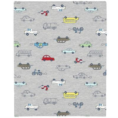 Red Busy Cars and Bikes Super Soft Mini Fitted Polyester Crib Sheet