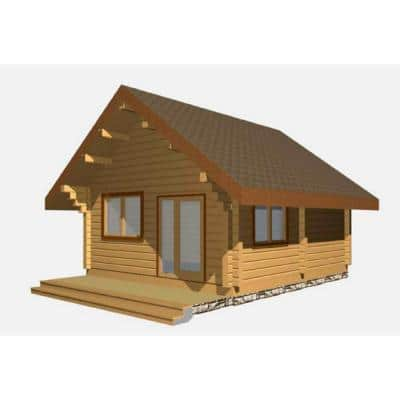 16 ft. x 24 ft. x 14 ft. Log Cabin Style Studio Guest Hobby Work Space Pool House D.I.Y. Building Kit