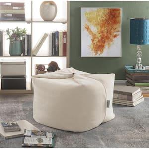 Magic Pouf Beige Microplush Bean Bag Chair Convertible Ottoman/Floor Pillow
