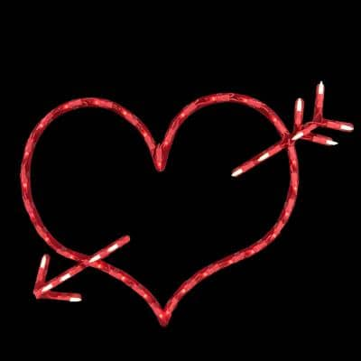 10 in. H x 17 in. L Lighted Valentine's Day Heart with Arrow Window Silhouette