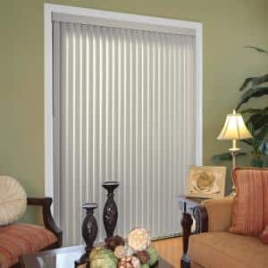Pearl Gray Room Darkening 3.5 in. Vertical Blind Kit for Sliding Door or Window - 78 in. W x 84 in. L