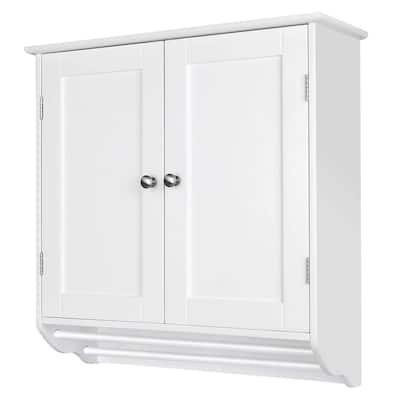 24.4 in. W x 8.6 in. D x 23.6 in. H Wooden Bathroom Storage Wall Cabinet in White (2-Door)