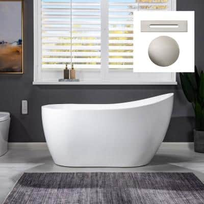 Auxerre 54 in. Acrylic FlatBottom Single Slipper Bathtub with Brushed Nickel Overflow and Drain Included in White