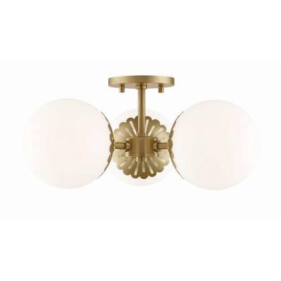 Paige 3-Light Aged Brass Semi-Flush Mount with Opal Matte Glass Shade