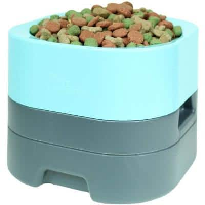 PetWeighter Bowl Large and Heavy Dog Food Bowl - Elevated Dog and Cat Water Bowl Large in Blue
