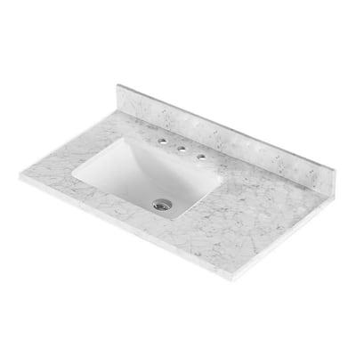 36 in. W x 22 in. D Marble Vanity Top in White