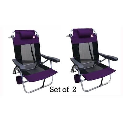 Purple Multi-Position Flat Folding Mesh Ultralight Beach Chair (2-Pack)