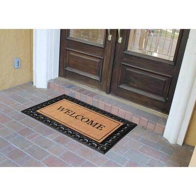 A1HC Welcome Paisley Border Black/Beige 30 in. x 48 in. Rubber and Coir Heavy Duty Double Door Doormat