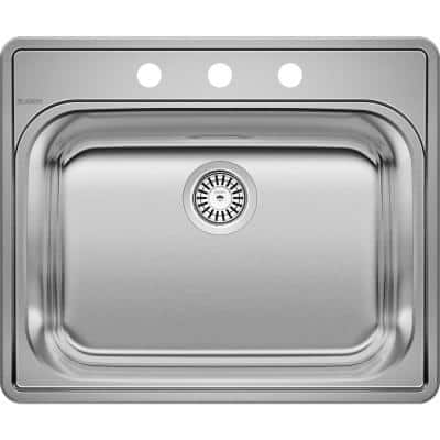 Essential Drop-in Stainless Steel 25 in. x 22 in. 3-Hole Single Bowl Kitchen Sink in Brushed Satin