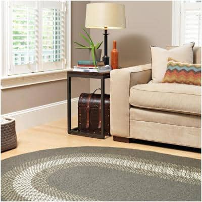Chancery Charcoal 8 ft. x 11 ft. Oval Braided Area Rug