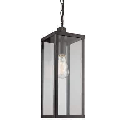 Oxford 19.5 in. 1-Light Black Outdoor Pendant Light with Clear Glass