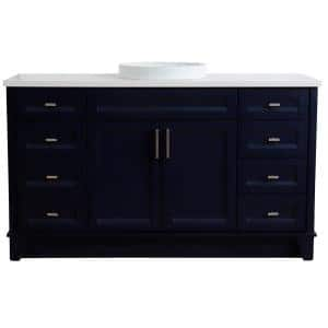 61 in. W x 22 in. D Single Bath Vanity in Blue with Quartz Vanity Top in White with White Round Basin