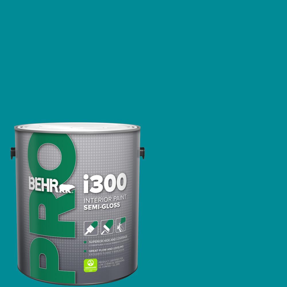 Behr Pro 1 Gal 510b 7 Empress Teal Semi Gloss Interior Paint Pr37301 The Home Depot
