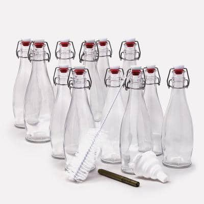 17 oz. Glass Bottles with Swing Top Stoppers, Bottle Brush, Funnel, and Gold Glass Marker (Set of 12)