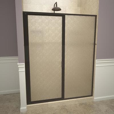1100 Series 47 in. W x 68-5/8 in. H Framed Swing Shower Door in Oil Rubbed Bronze with Pull Handle and Obscure Glass