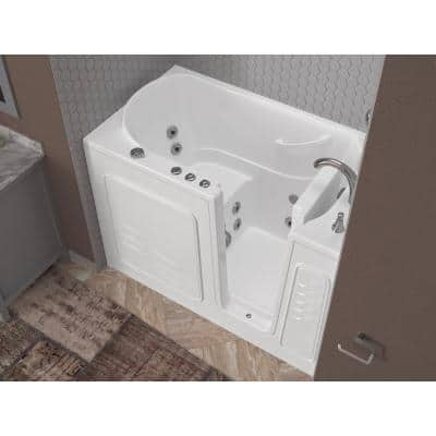 HD Series 53 in. Right Drain Quick Fill Walk-In Whirlpool Bath Tub with Powered Fast Drain in White