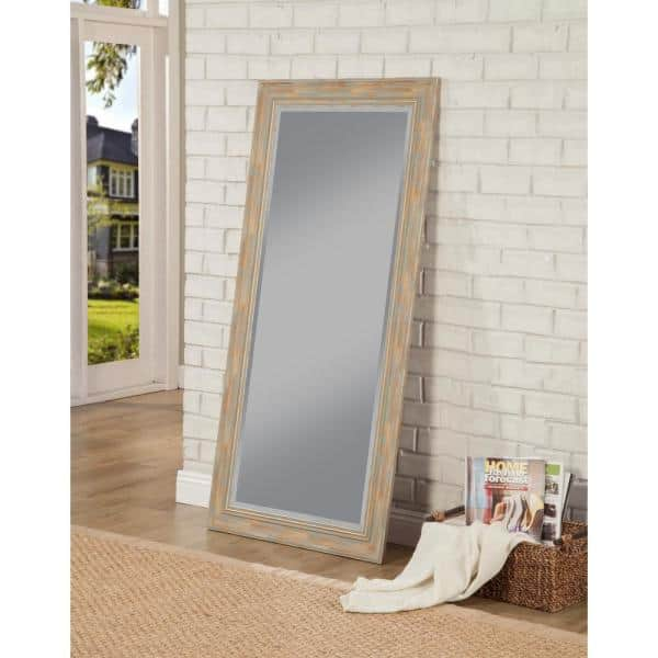 Martin Svensson Home Oversized Blue Plastic Beveled Glass Full Length Farmhouse Mirror 65 In H X 31 In W 18211 The Home Depot