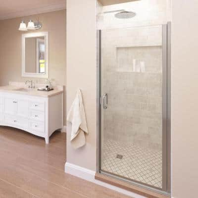 Infinity 34 in. x 65-9/16 in. Semi-Frameless Hinged Shower Door in Chrome with Clear Glass
