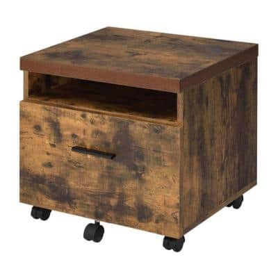 Oak Brown and Black Wooden File Cabinet with Open Compartment and Drawer