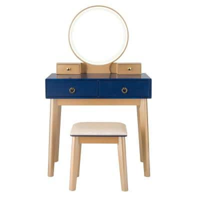 Navy Blue 3 Lighting Modes Touch Screen Vanity Makeup Table Set