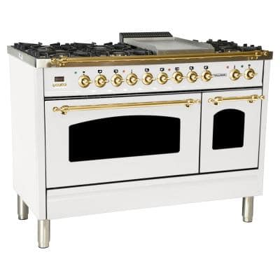 48 in. 5.0 cu. ft. Double Oven Dual Fuel Italian Range True Convection, 7 Burners, Griddle, LP Gas, Brass Trim in White