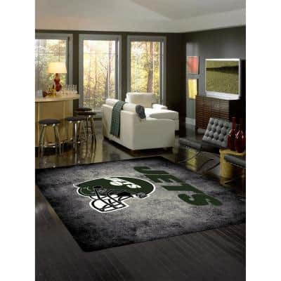 NEW YORK JETS 6 ft. X 8 ft. DISTRESSED RUG