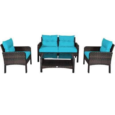 Metal Wicker Outdoor Loveseat with CushionGuard Turquoise Cushion