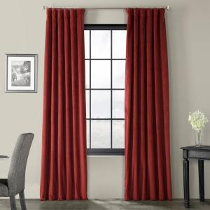 Burgundy Velvet Rod Pocket Blackout Curtain - 50 in. W x 84 in. L