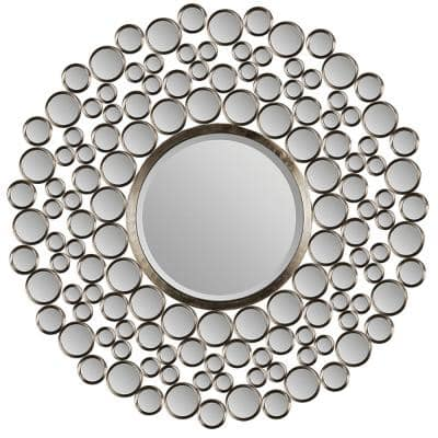 Large Round Silver Metallic Shatter Resistant Contemporary Mirror (42 in. H x 42 in. W)