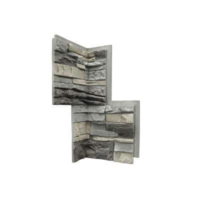 Grey and wood faux stone 10x14mm ovals 10pcs