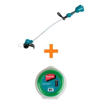 18V LXT Cordless Li-Ion BL Curved Shaft String Trimmer Tool-Only with Bonus 1 lbs. 0.08 in. x 400 ft. Green Trimmer Line