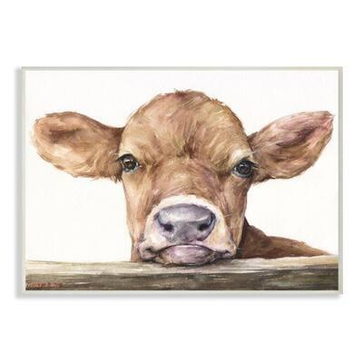 """12 in. x 18 in. """"Cute Baby Cow"""" by George Dyachenko Wood Wall Art"""